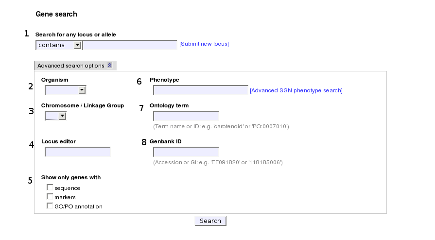 screenshot of gene search form